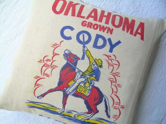 Grain Sack Pillow - Oklahoma Cody Alfalfa