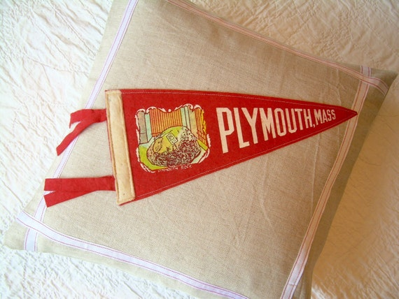 Pennant Pillow - vintage Plymouth, Massachusetts