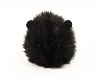 Stuffed Animal Guinea Pig Cute Plush Toy Guinea Pig Kawaii Plushie Coal the Black Guinea Pig Faux Fur Stocking Stuffer Toy Small 4x5 Inches