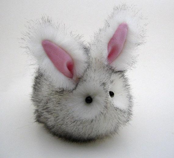 Salt n' Pepper Snow Bunny Stuffed Plushie Momma Size