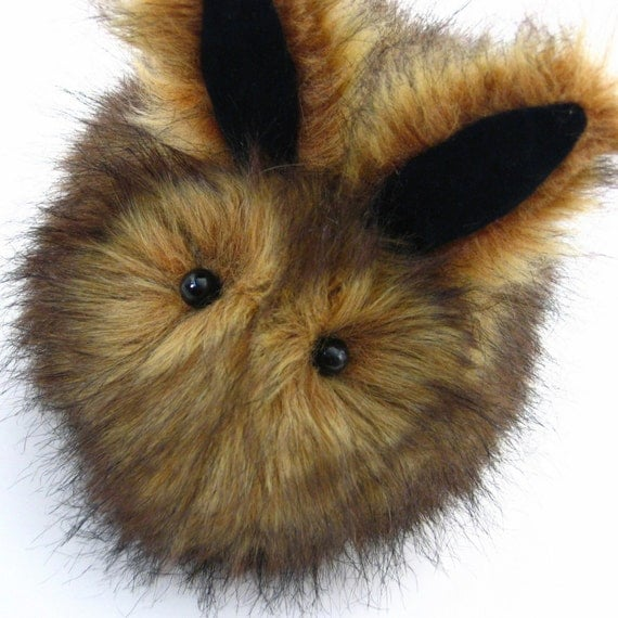 Cute Brown Rusty the Rabbit Faux Fur Plushie Momma Size