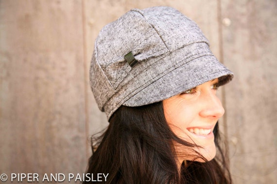 Mamie Hat- charcoal stretch linen- size SMALL