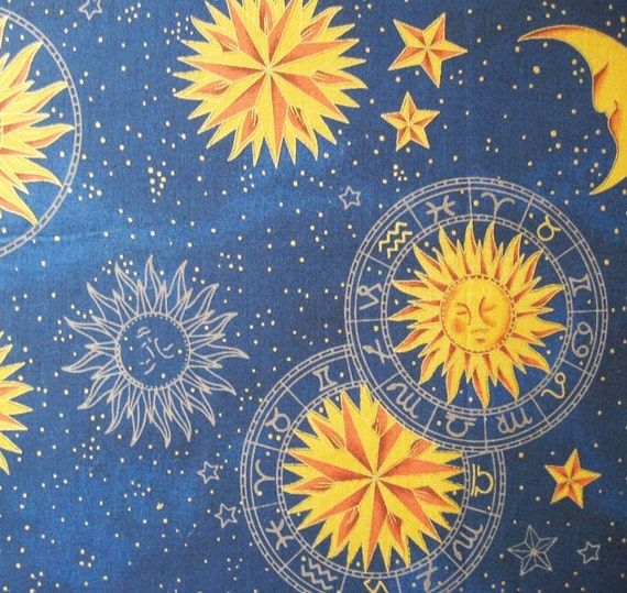 Blue zodiac printed cotton fabric for Astrology fabric