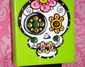 Day of the Dead sugar skull jeweled mini canvas Lime Green