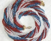 PATRIOTIC RED, WHITE, BLUE 1mm BEADS 20 INCH IN GOLD