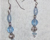 blue and silver blobes of beauty topped off with a unique bead cap earrings