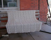 Hand knitted Saxon braid and Lush cable all cotton afghan 50 x 72