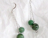 genuine jade 8mm and 10mm bead on sterling silver chain and ear wire-free shipping