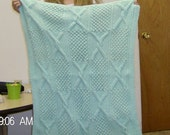 SWEET PEA GREEN BLACKBERRY AND CABLE 32X38 BABY AFGHAN