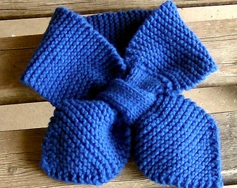 hand knitted royal blue lotus leaf neck scarf