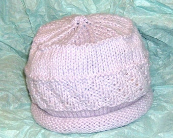 hand knitted spring lilac rolled brim tam hat cap size 6 to 12 months