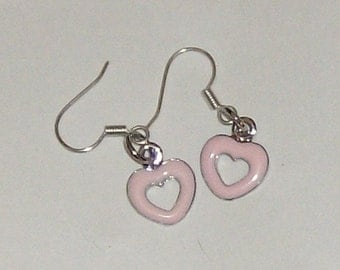 delicate silver heart accented with pink enamel earrings