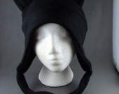 All Black with Strings AVIATOR Kitty Cat Beanie Fleece Hat Cosplay Anime Skiing Snowboarding Lolita Gothic Rave Punk Winter Cute