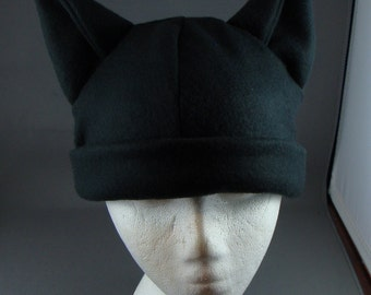 Black Catwide Ear Hat  Fleece Gothic Punk Skiing Snowboarding Rave Winter Anime Cosplay