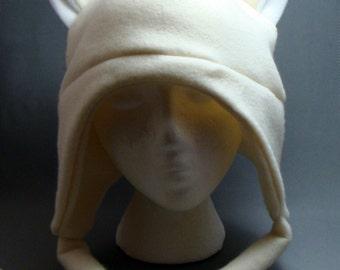 Ivory Fox with Drawstrings Beanie AVIATOR  Hat Earflap Fleece Gothic Punk Skiing Snowboarding Rave Winter Anime Lolita Cosplay
