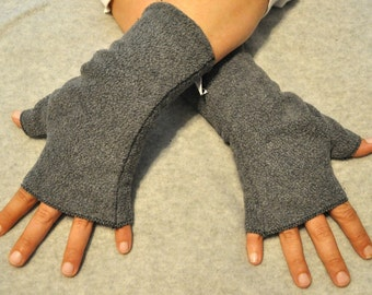 Dark Grey Fingerless Gloves Hand Warmers Wrist Warmers Fleece Fusion Rave Steampunk Lolita Romantic Cosplay Bohemian Matches Our Hat Styles