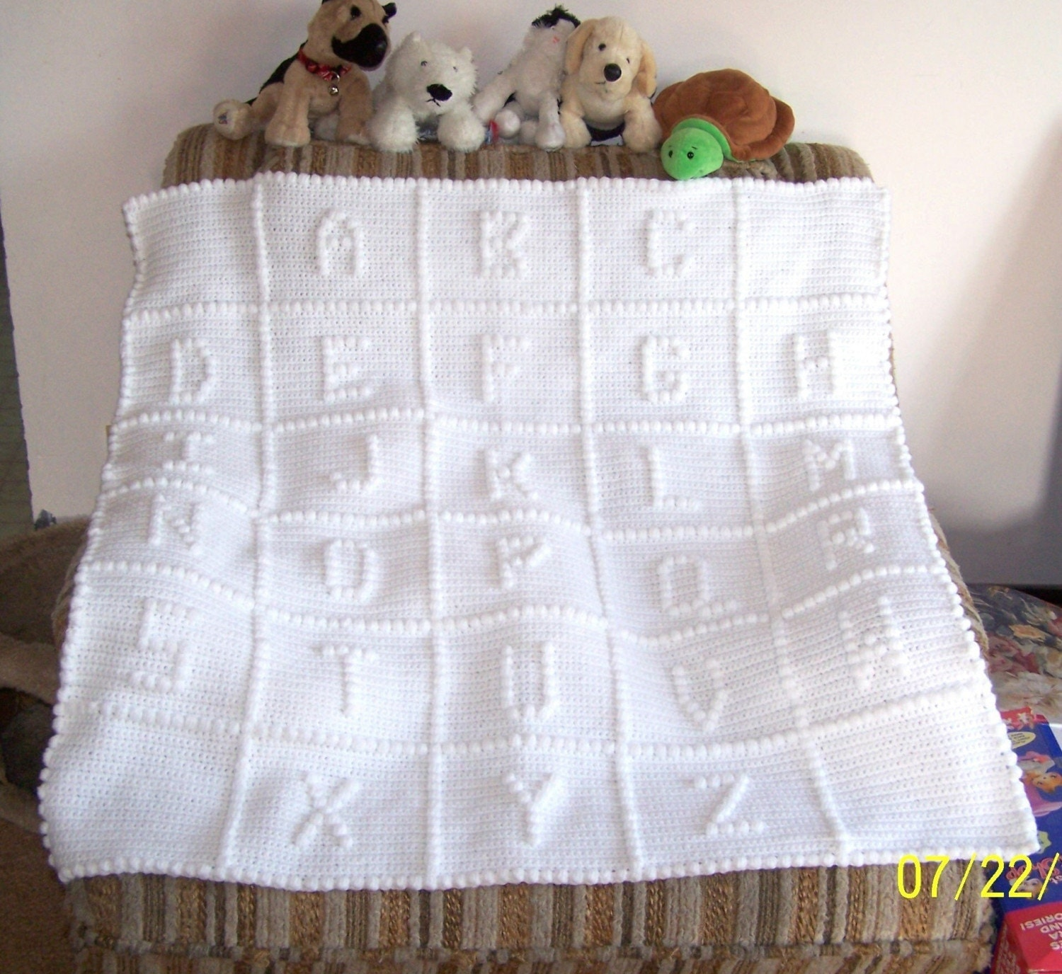Crochet Pattern For Abc Baby Blanket : ABC Baby Blanket CUSTOM ORDER Hand by SkiesofEarlyMorning ...