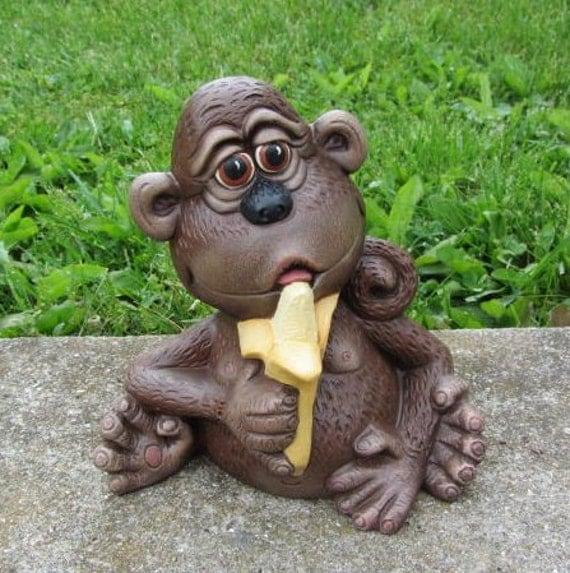 Ceramic Monkey Eating A Banana
