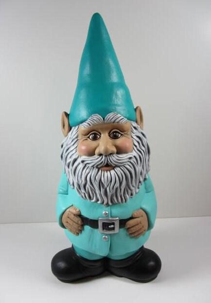 Gnome In Garden: Ceramic Gnome Statue Yard Art Large Garden Gnome Figurine