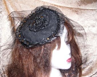 Gothic Black Rose Pasties and  Fasinator set