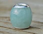 1 Add A Bead Style Slider Bead - Sterling Silver - Genuine Jade