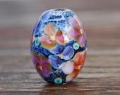 Romance - K O Lampwork - 1 Floral Focal Bead