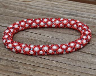 Patriot Red - Beaded Lace Soft Bangle Bracelet - Size Medium