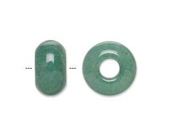 Green Aventurine - 1 Natural Gemstone Big Hole Bead for add a bead chains