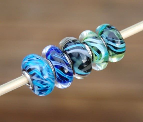 Moonlit Medley - Dan O Beads - 5 Sterling Silver Cored Lampwork Beads for Add a Bead European Style Chains