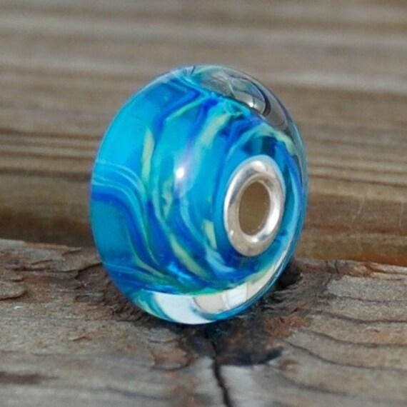 Lagoon - Silver Cored Dan O Lampwork Bead for european style add a bead chains