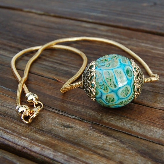 Earth Stone -Brass Cored 'n Capped K O Lampwork Big Hole Bead for Add A Bead Chains WITH Chain