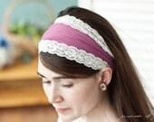 soft Berry stretch trimmed hair wrap-  garlands of grace soft headband