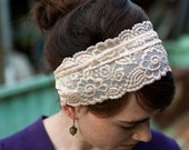 Ivory stretch lace covering headband hair accessory lovey gift item
