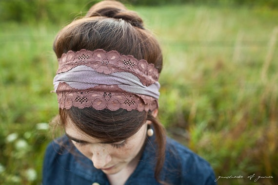 stretch Raspberry Mocha headband- fall winter Tweed hair accessory