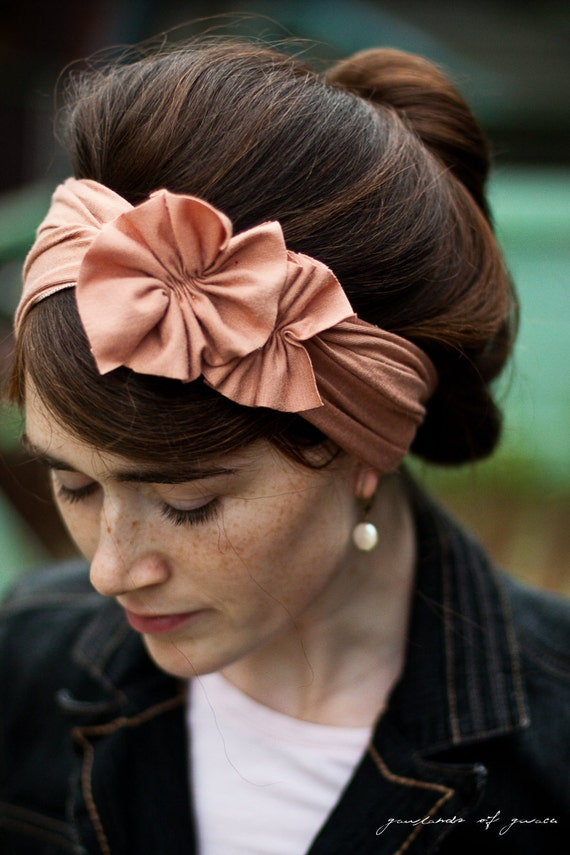 Nutmeg stretch Rosette wrap headband covering-- Garlands of Grace Autumn and wintertime.