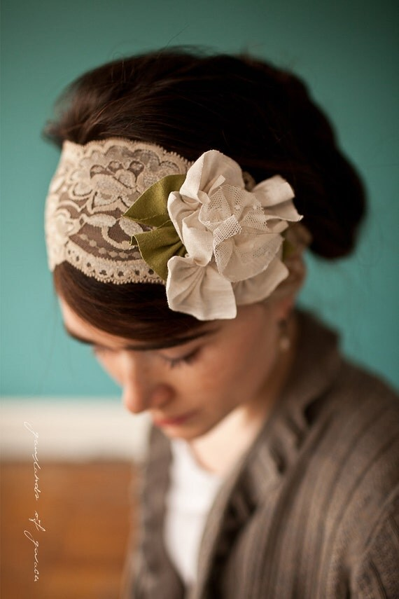 Magnolias in Lace Caramel - Garlands of Grace Something special headband 2012
