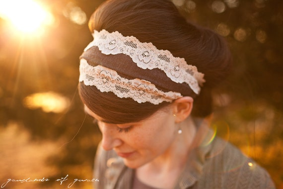 Vintage Stretch in Mocha - Garlands of Grace headband Spring headcovering hair scarf headband
