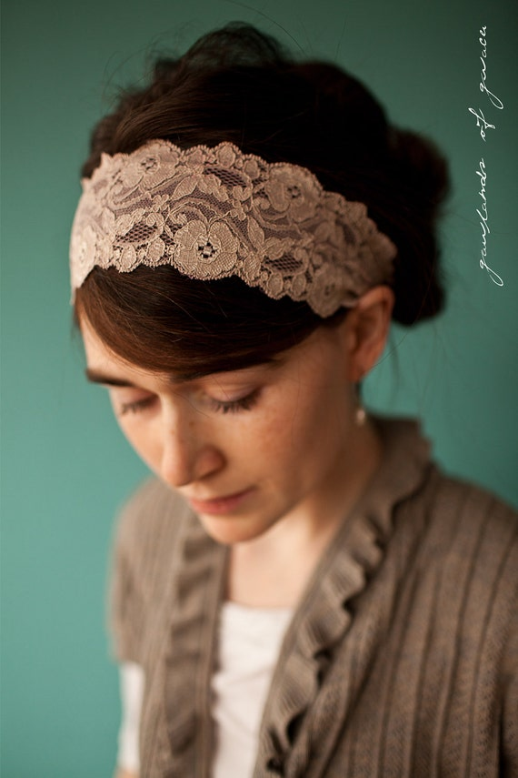 Katherines Heirloom Lace in Antique Beige - Garlands of Grace Something special headband 2012