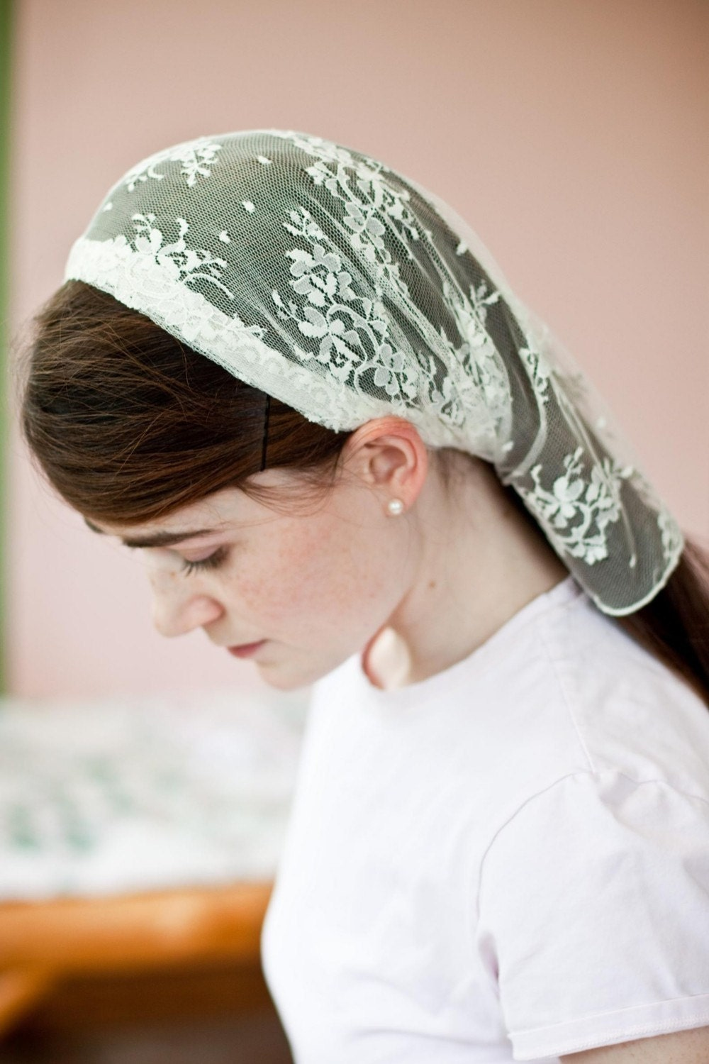 delicate lace headcovering prayer veil wedding scarf