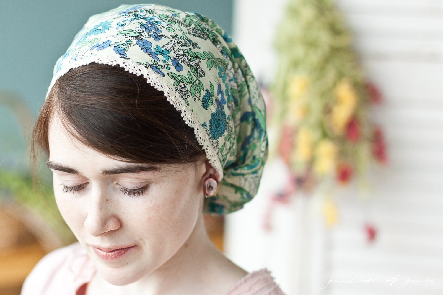 Cotton Lace And Juniper Flowers Victorian Snood Headcovering