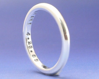 Keep a Secret......Stackable Sterling Silver Ring. Custom. Personalized , Personalised with your own message, word, phrase, quote. Stamped