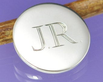 Personalised Golf Ball Marker. Hand engraved sterling silver love token.