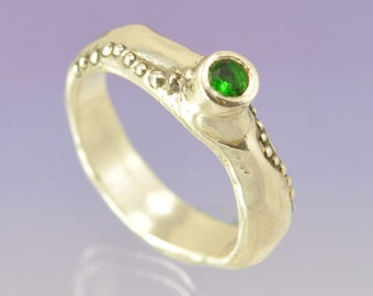 Stacking Silver Ring Set With Green Stone.