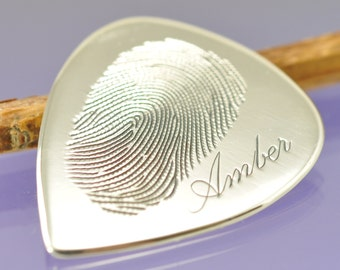 Personalised Fingerprint guitar plectrum, pick. Your print hand engraved on Sterling Silver