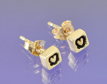 Heart Within. 9k Yellow Gold Earrings.