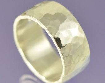 Hammered Silver Ring 8mm.