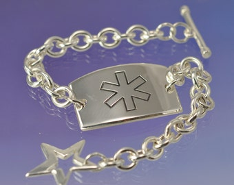 Custom Medical Alert Tag Bracelet. Allergy Bracelet. Silver