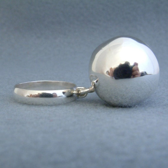 Sphere. Sterling silver ring with sphere attached.