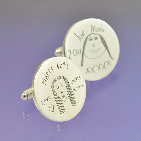 Your child's drawing onto a pair of sterling silver cuff links.
