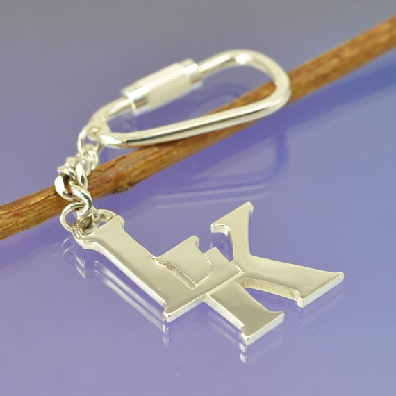 Entwined Initial Keyring. Sterling Silver